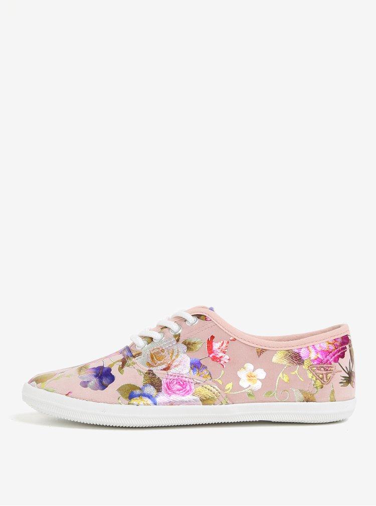 Růžové květované tenisky Tamaris