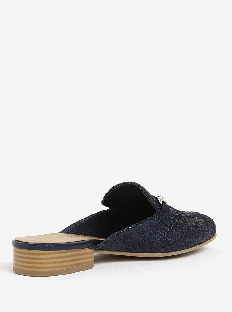Tmavě modré kožené pantofle se sponou Tamaris