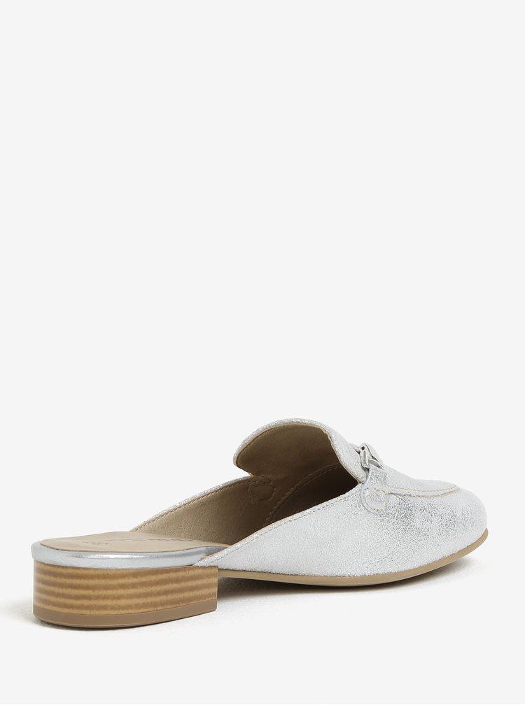 Lesklé kožené pantofle ve stříbrné barvě Tamaris