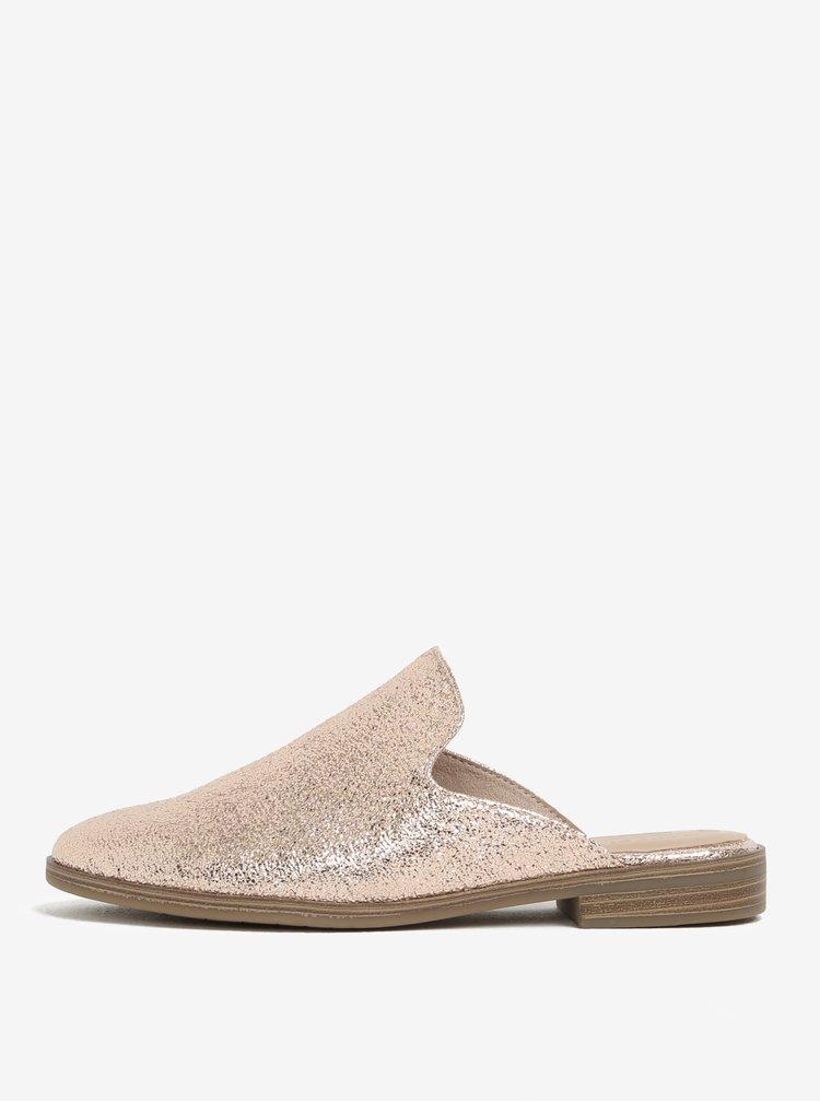 Růžovozlaté lesklé pantofle Tamaris