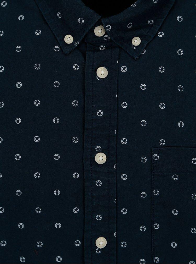 Camasa slim fit bleumarin cu print - Casual Friday by Blend