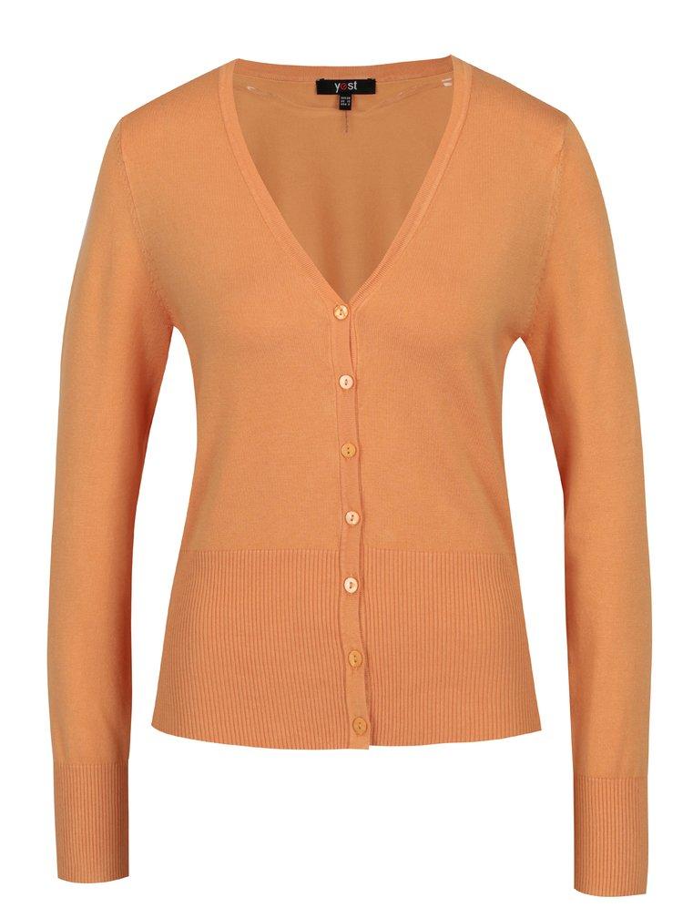 Cardigan oranj cu terminatie elastica - Yest