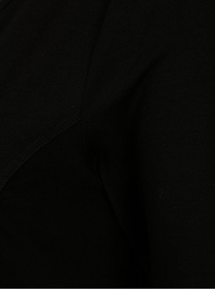 Černé minišaty s véčkovým výstřihem a 3/4 rukávem Yest