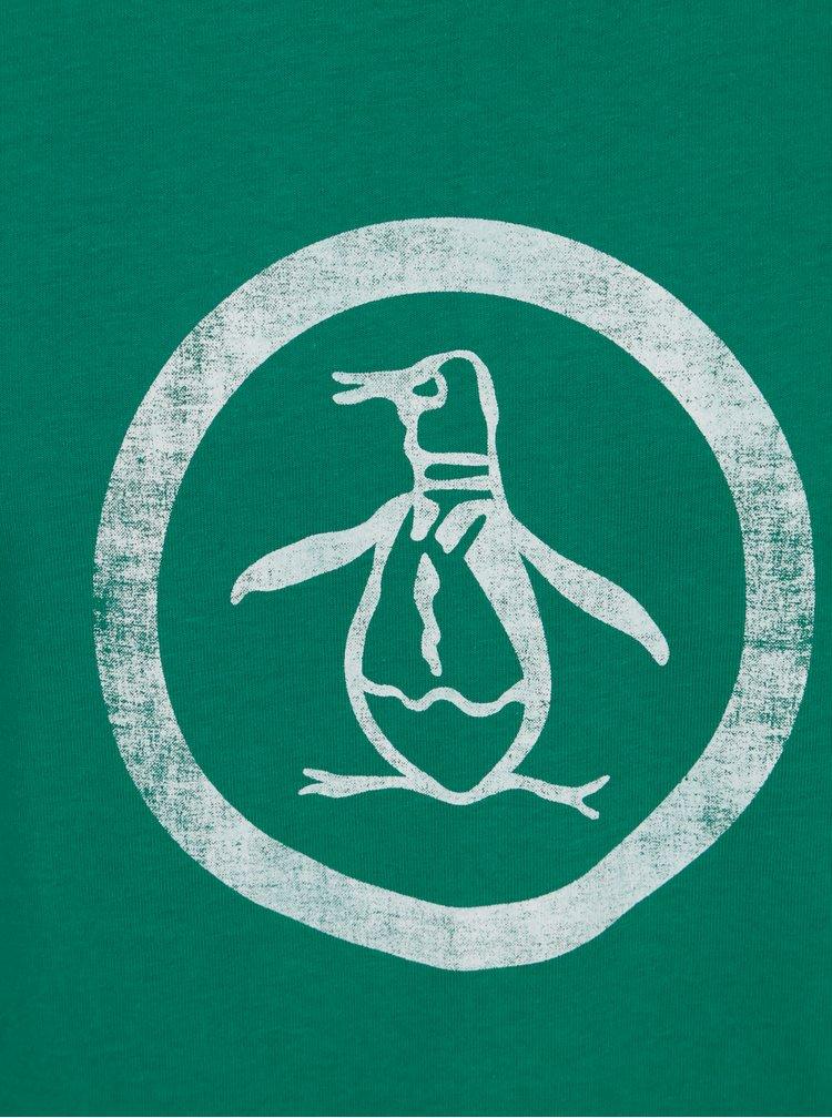 Tricou verde cu print logo - Original Penguin