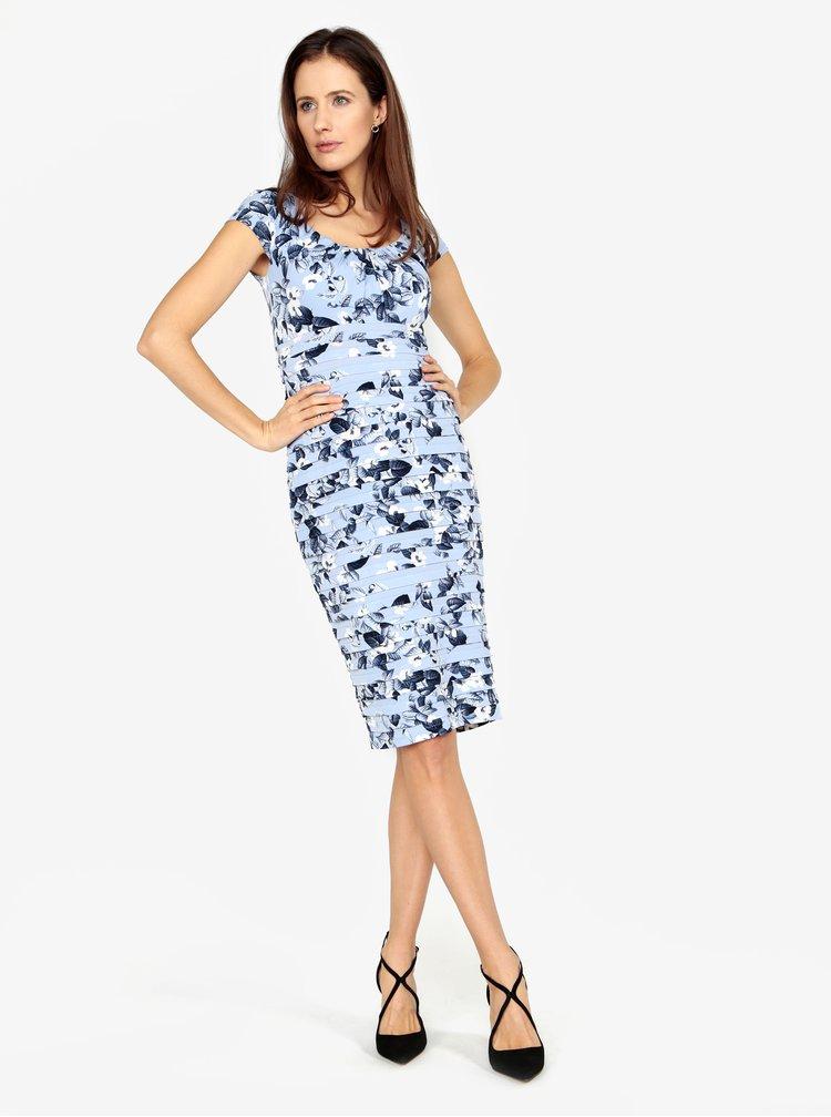 Světle modré květované šaty s řasením M&Co
