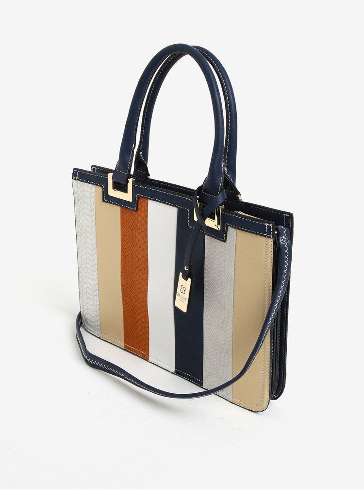 Modro-krémová pruhovaná kabelka Bessie London