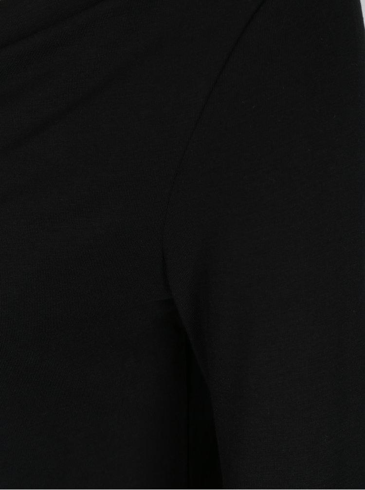 Černé tričko s 3/4 rukávem a řasením ve výstřihu Pietro Filipi