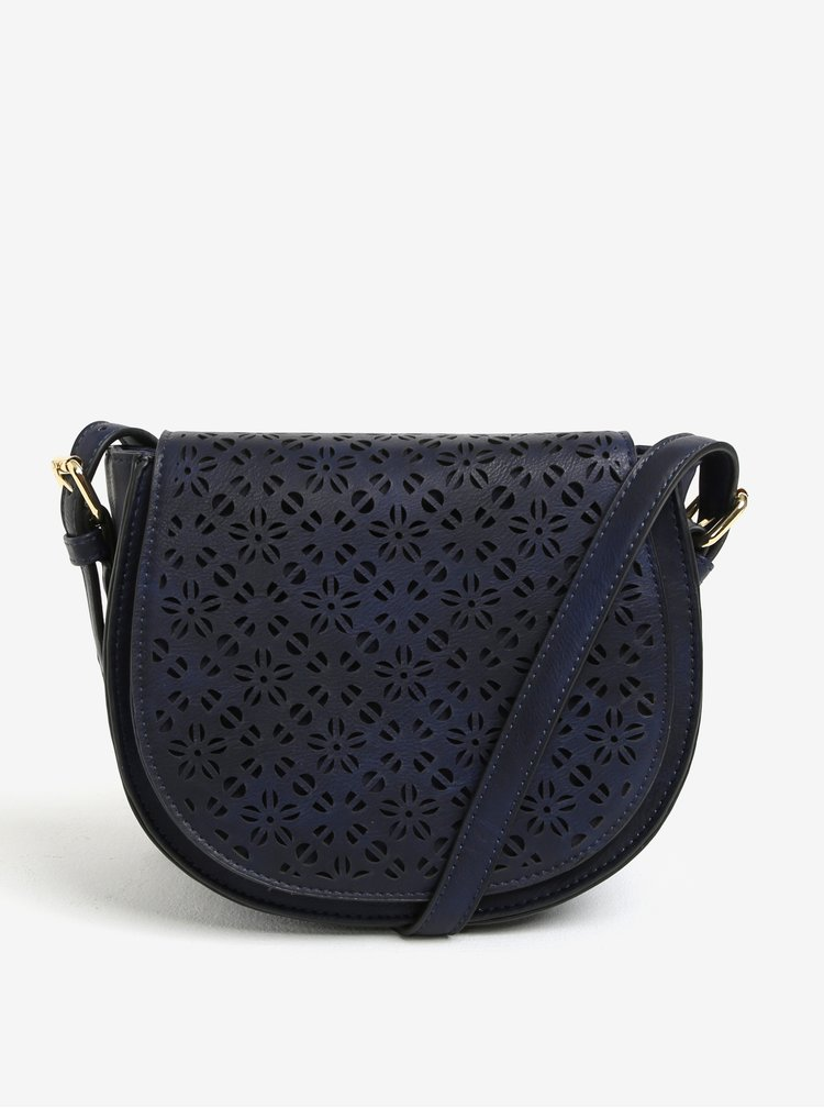 Geanta crossbody bleumarin cu model perforat pe clapa - Bessie London
