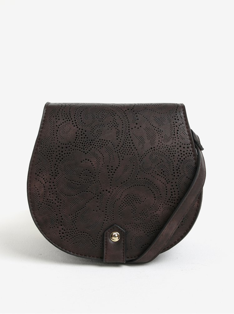 Geanta crossbody maro inchis cu model perforat - Bessie London