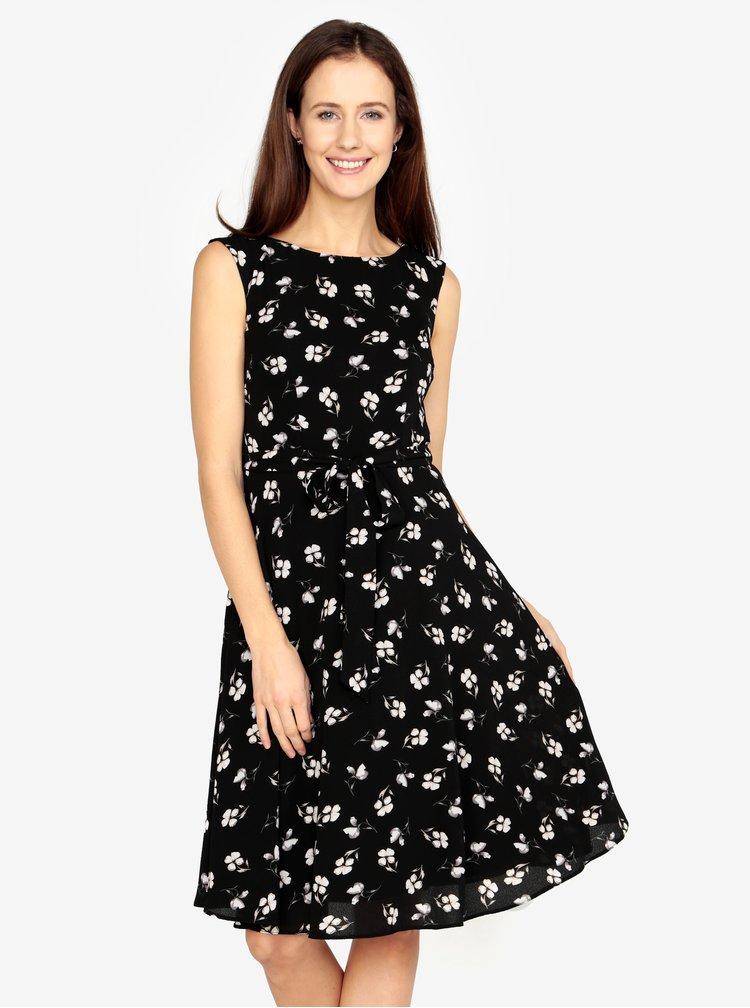 Černé květované šaty se zavazováním v pase M&Co