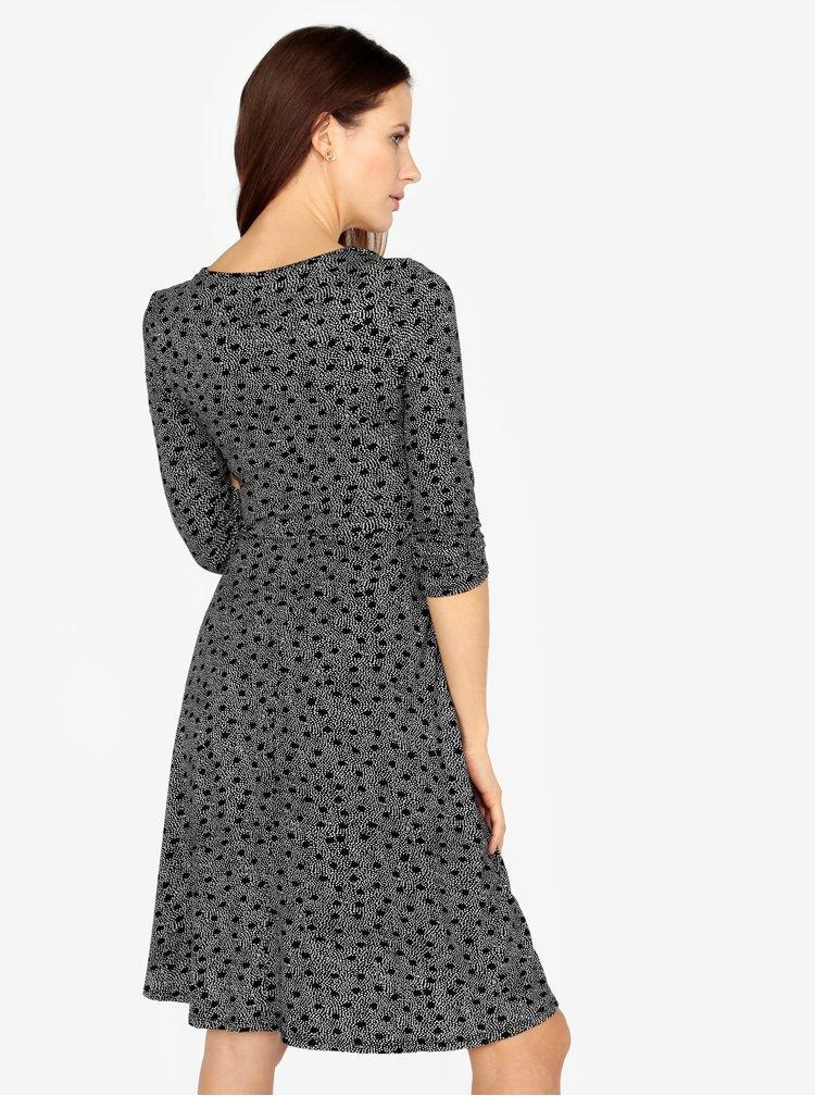 Bílo-černé puntíkované šaty s překládaným výstřihem M&Co
