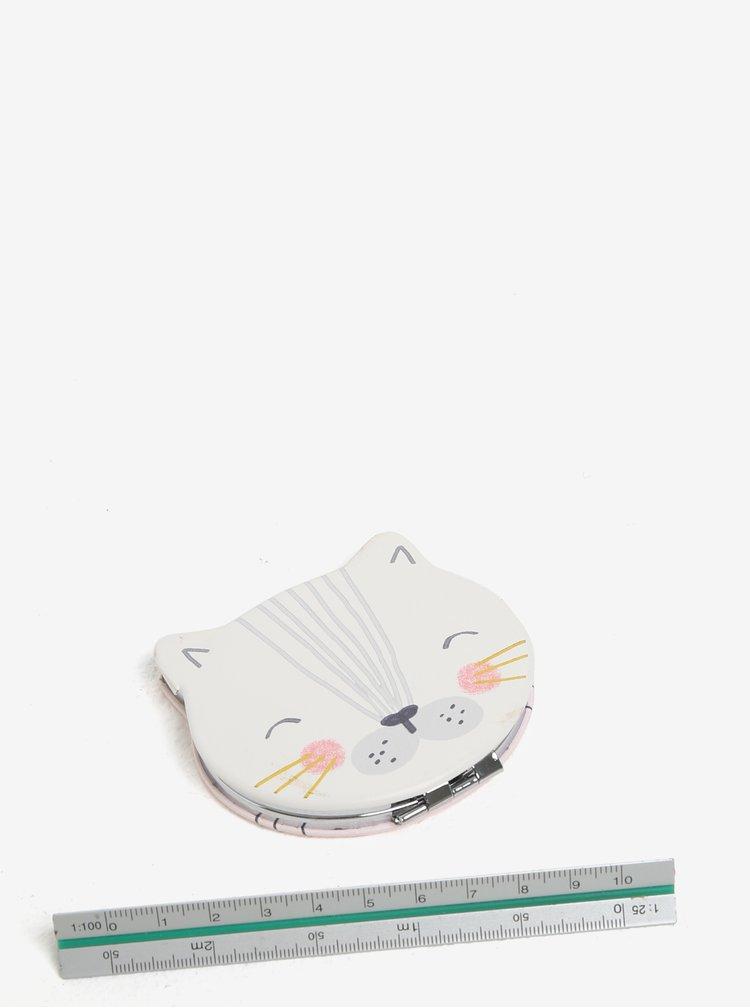 Růžové kompaktní zrcátko ve tvaru kočky Disaster