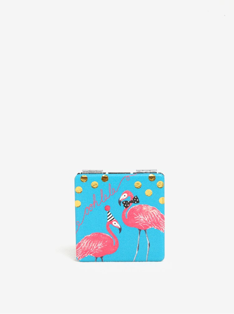 Oglinda turcoaz compacta cu print flamingo - Disaster Candy Pop