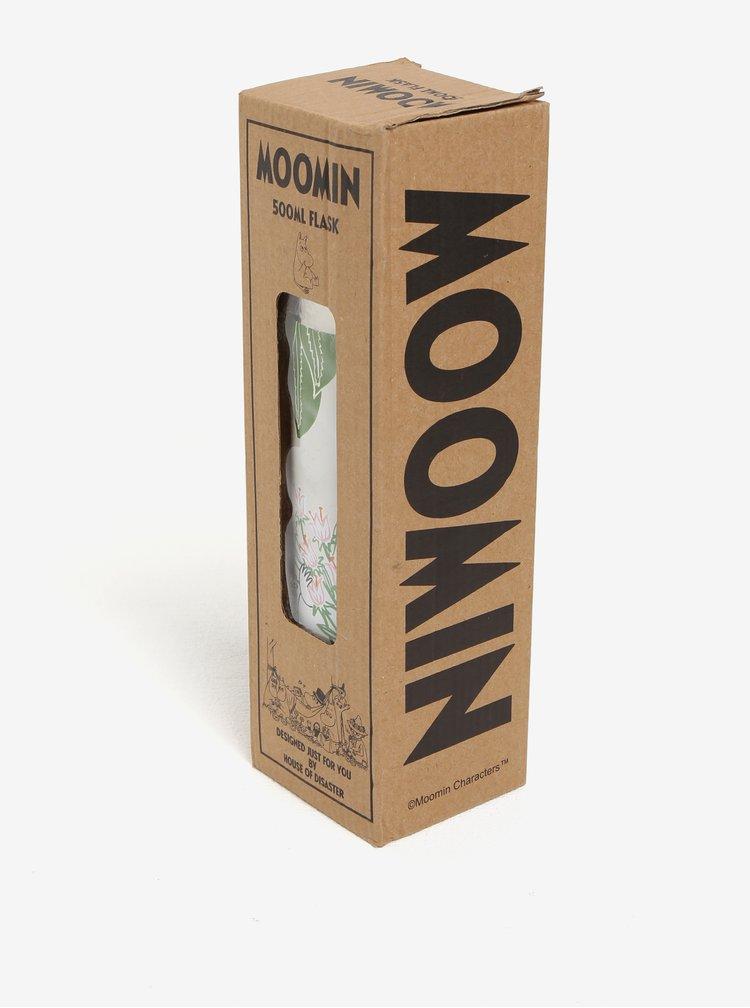 Světle zelená květovaná termoska s motivem Mumínků Disaster Moomin