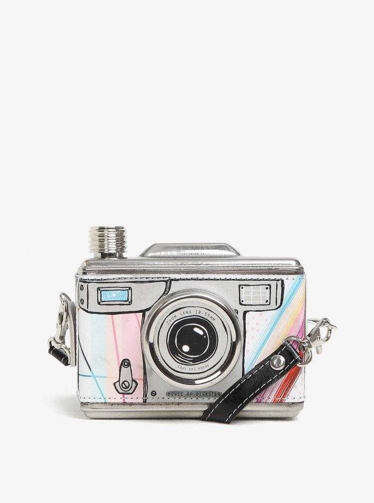 Krémová vzorovaná nerezová placatka ve tvaru fotoaparátu Disaster Take A Shot