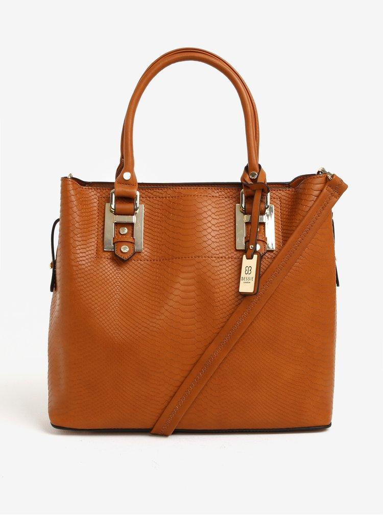 Hnedá vzorovaná kabelka a crossbody kabelka 2v1 Bessie London