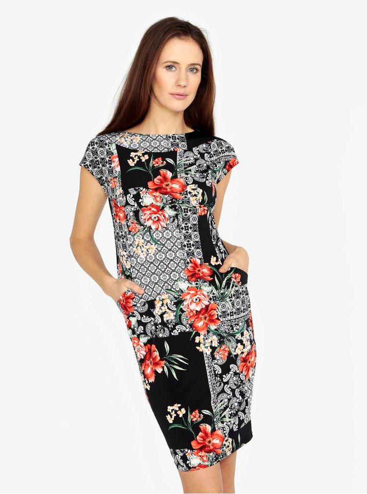 Černé vzorované šaty s kapsami M&Co