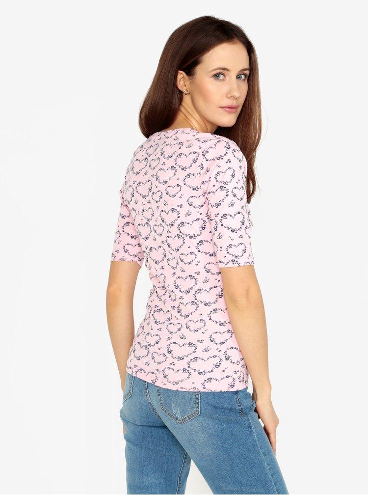 Světle růžové vzorované tričko M&Co