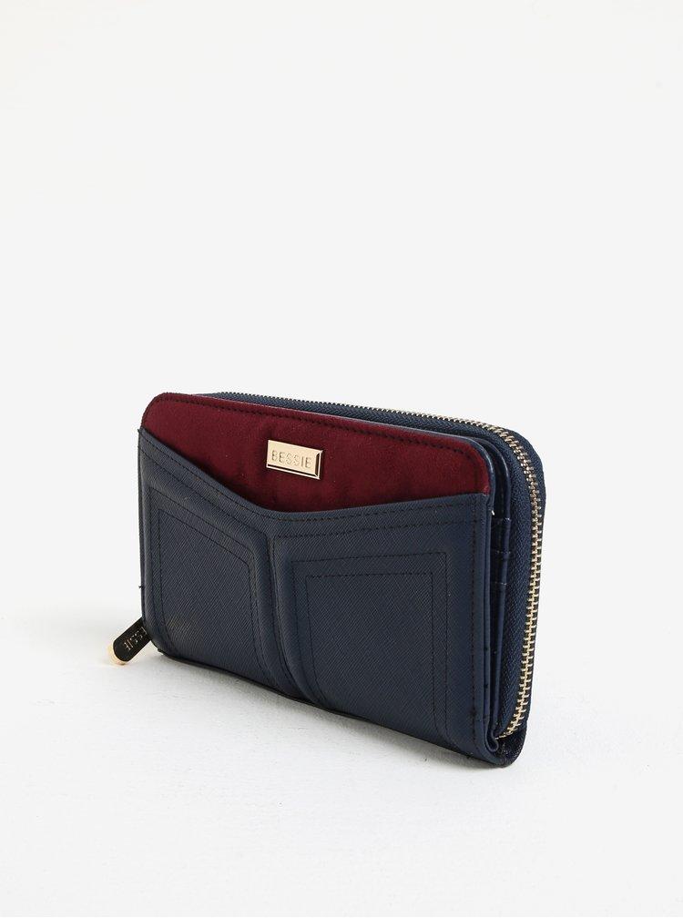 Modrá velká peněženka s detailem v semišové úpravě Bessie London