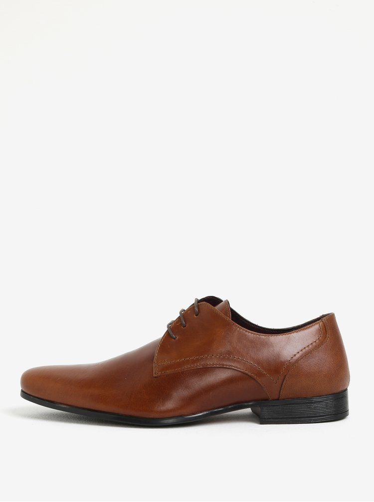 Pantofi maro cu sireturi din piele pentru barbati  Burton Menswear London