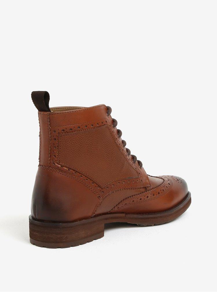 Hnědé pánské kožené brogue kotníkové boty Burton Menswear London