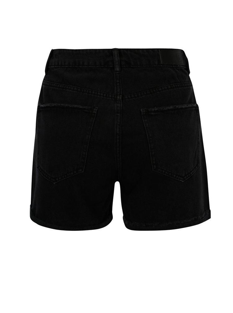 Černé džínové kraťasy s vysokým pasem VERO MODA Nineteen