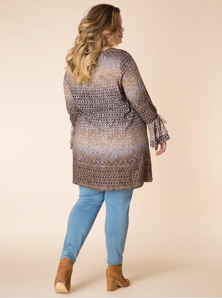 Rochie tunica cu print geometric maro & crem - Yest
