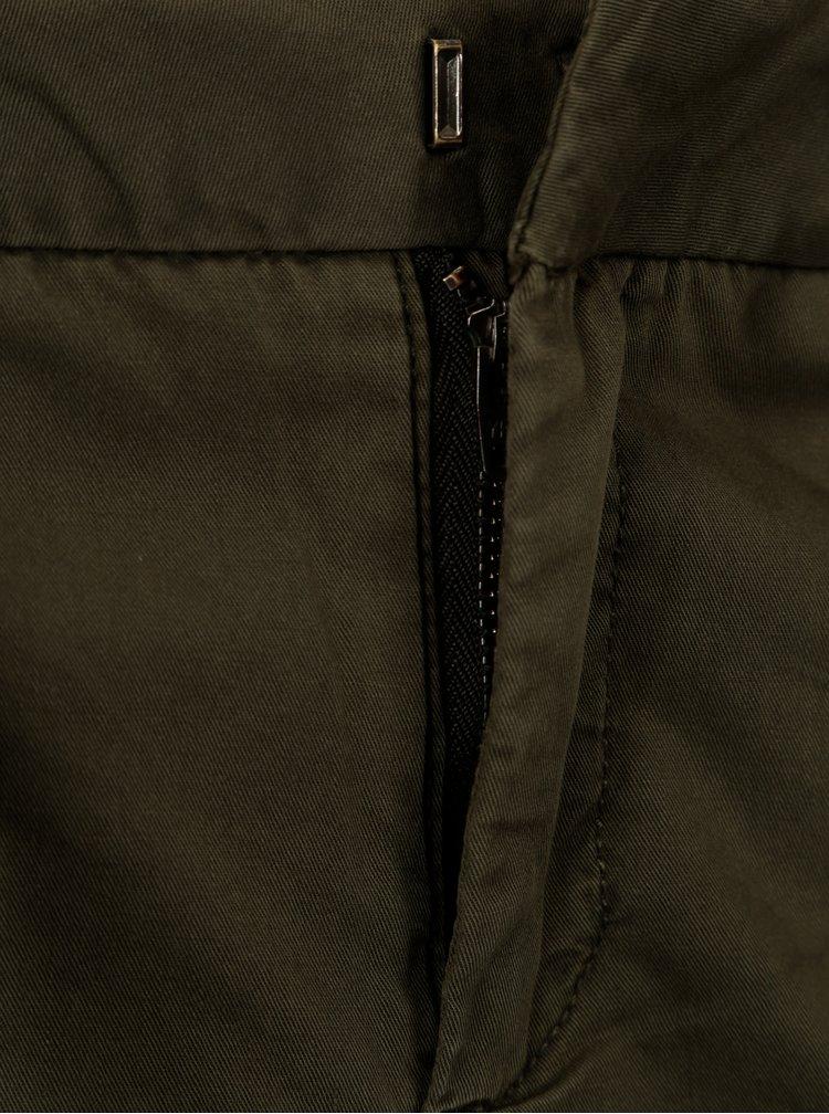Khaki chino kraťasy s páskem VERO MODA Flame