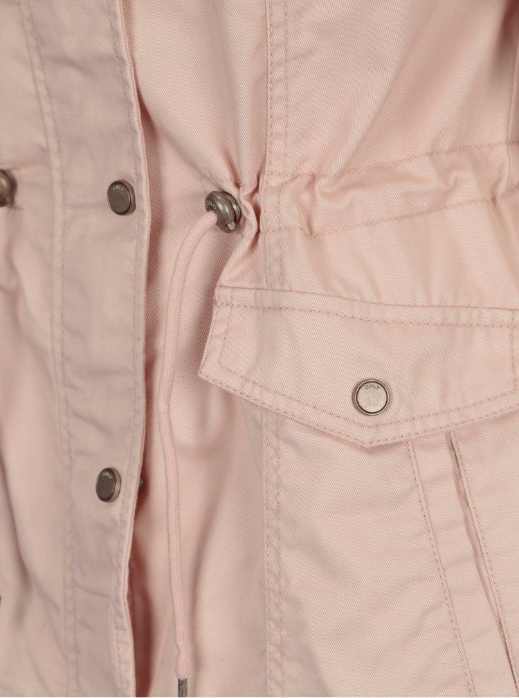 Světle růžová krátká parka s kapucí ONLY New Kate