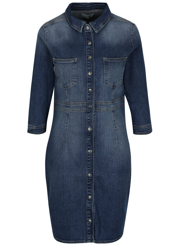 Modré džínové šaty s 3/4 rukávem Blendshe Panel