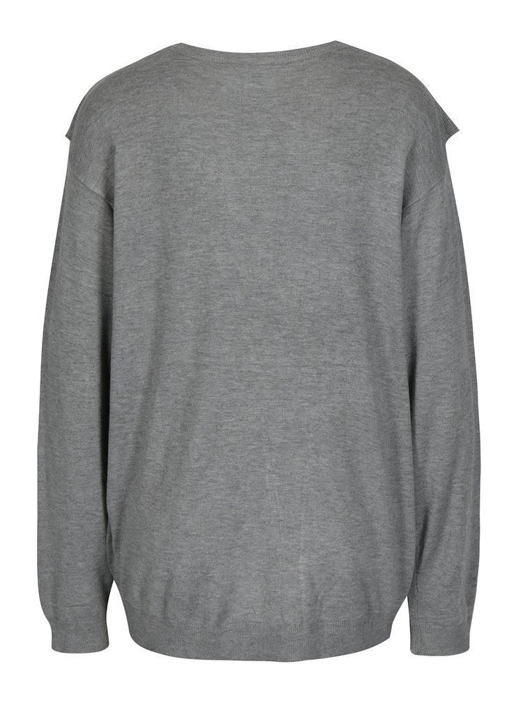 Šedý lehký oversize svetr s volánem Blendshe Kim