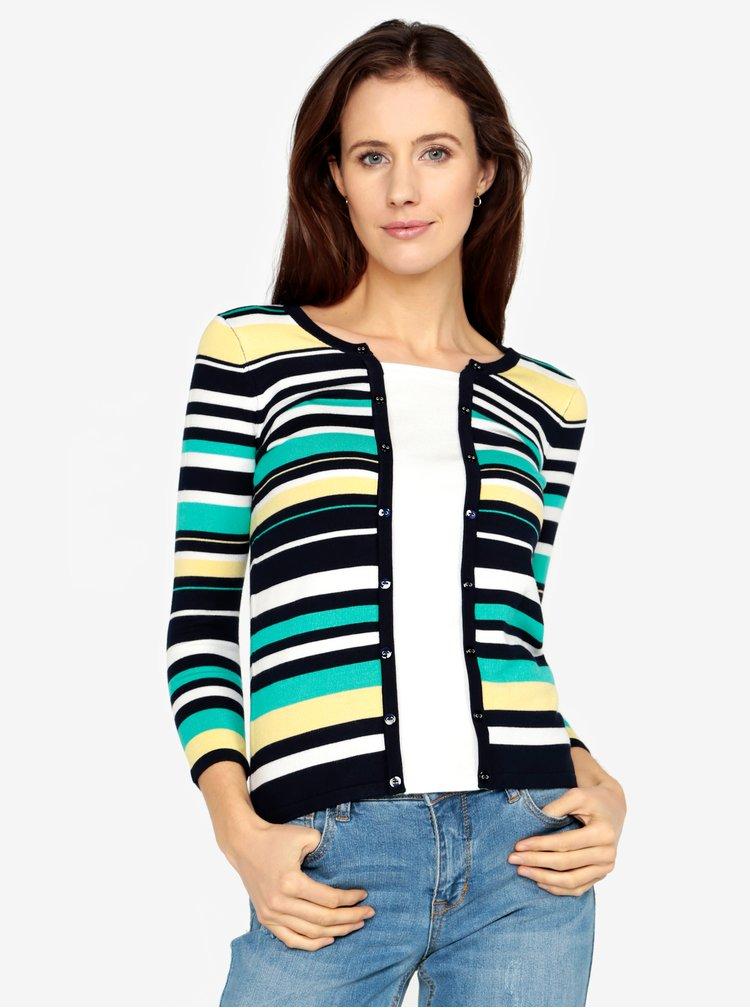 Modro-krémový pruhovaný svetr s ozdobnými knoflíky M&Co
