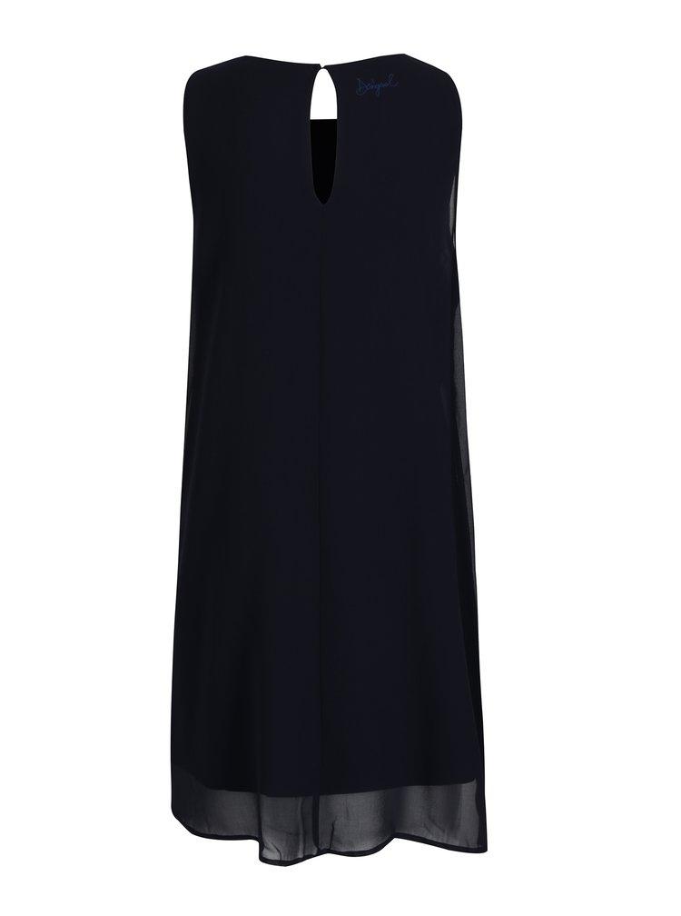 Modré vzorované šaty bez rukávov Desigual Natan