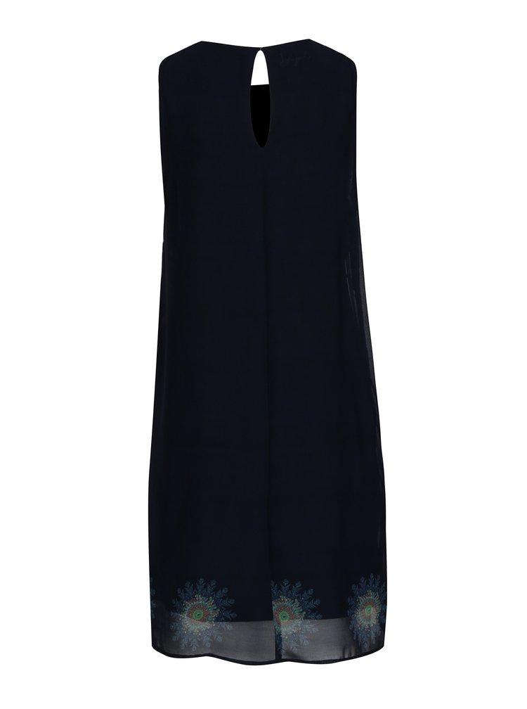 Modré vzorované šaty bez rukávov Desigual Nadia