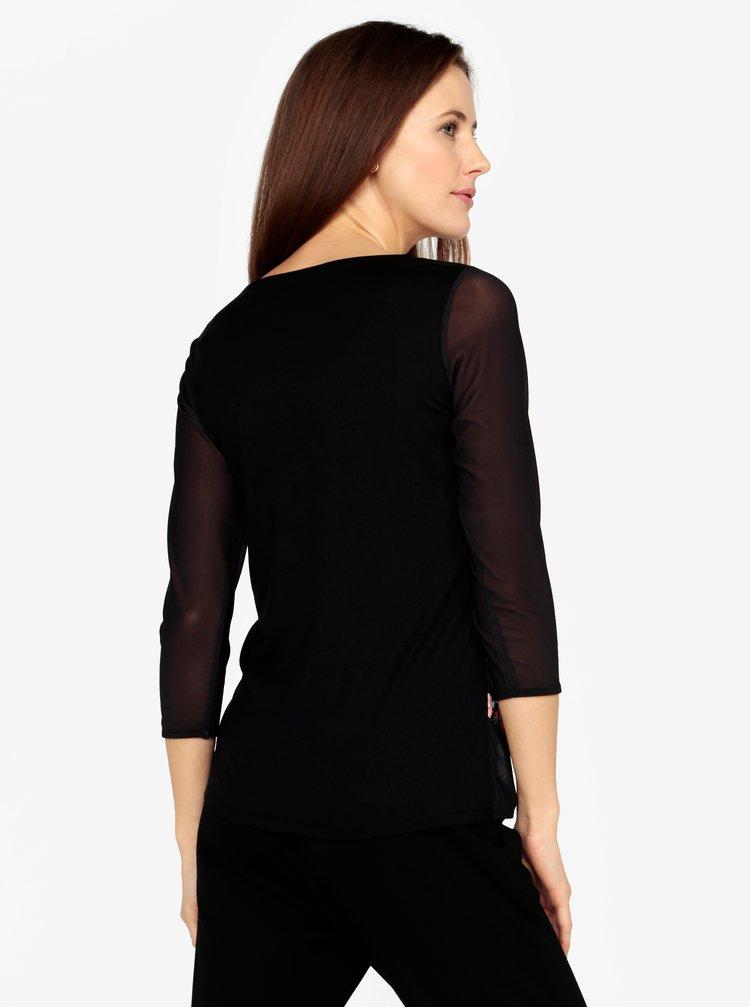 Černé tričko s průsvitnými rukávy a výšivkami M&Co
