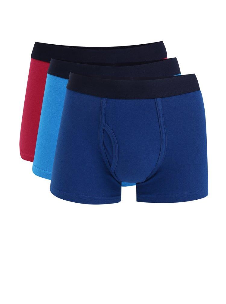 Sada tří boxerek v modré a tmavě růžové barvě Burton Menswear London