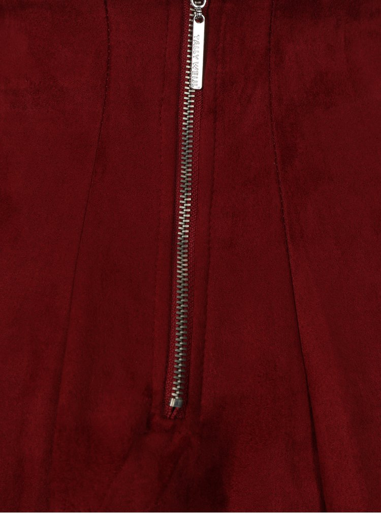 Červená skládaná sukně TALLY WEiJL