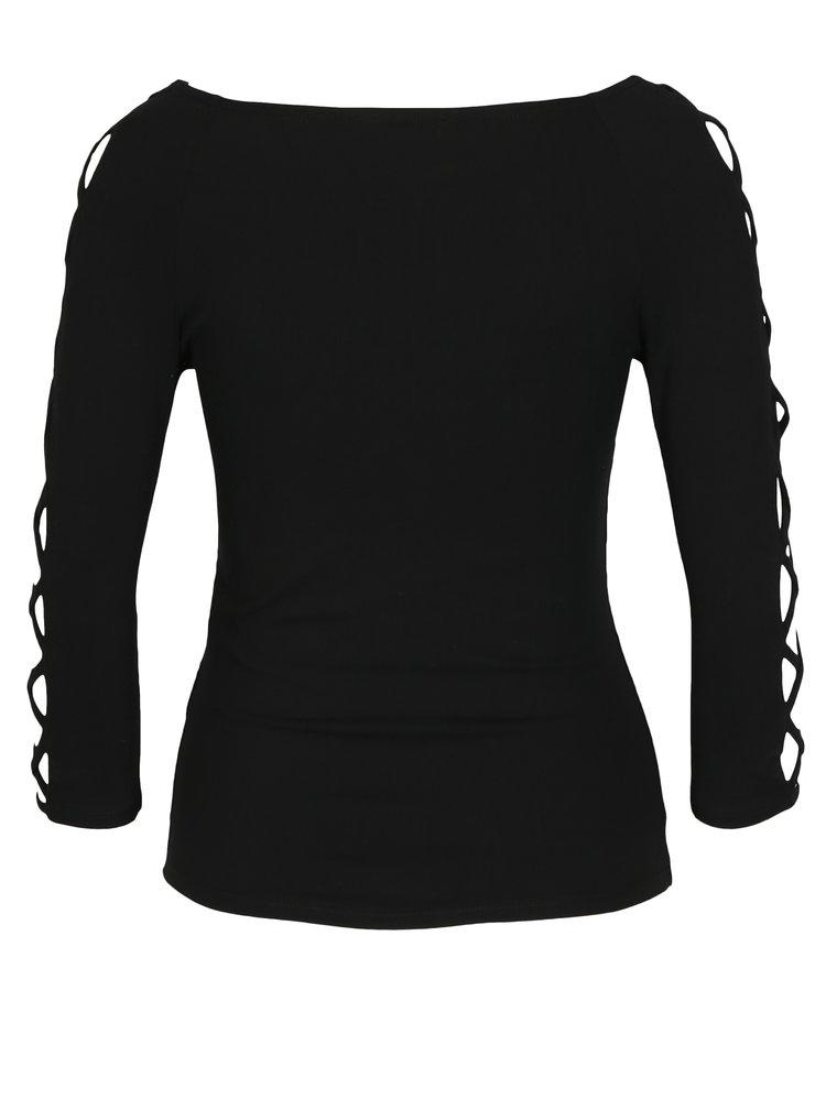 Černé tričko se šněrováním na rukávech TALLY WEiJL