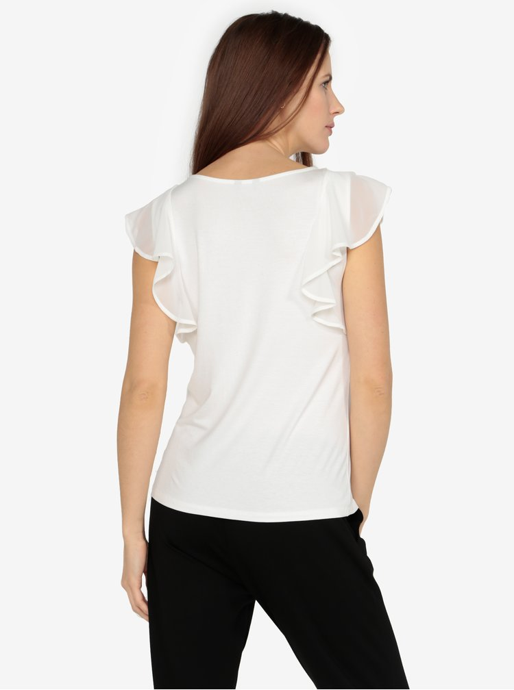 Krémové tričko s volány M&Co