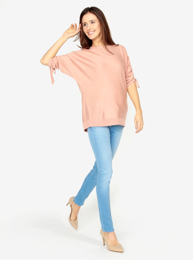 Ružový voľný sveter s rukávmi na sťahovanie VERO MODA Adriana
