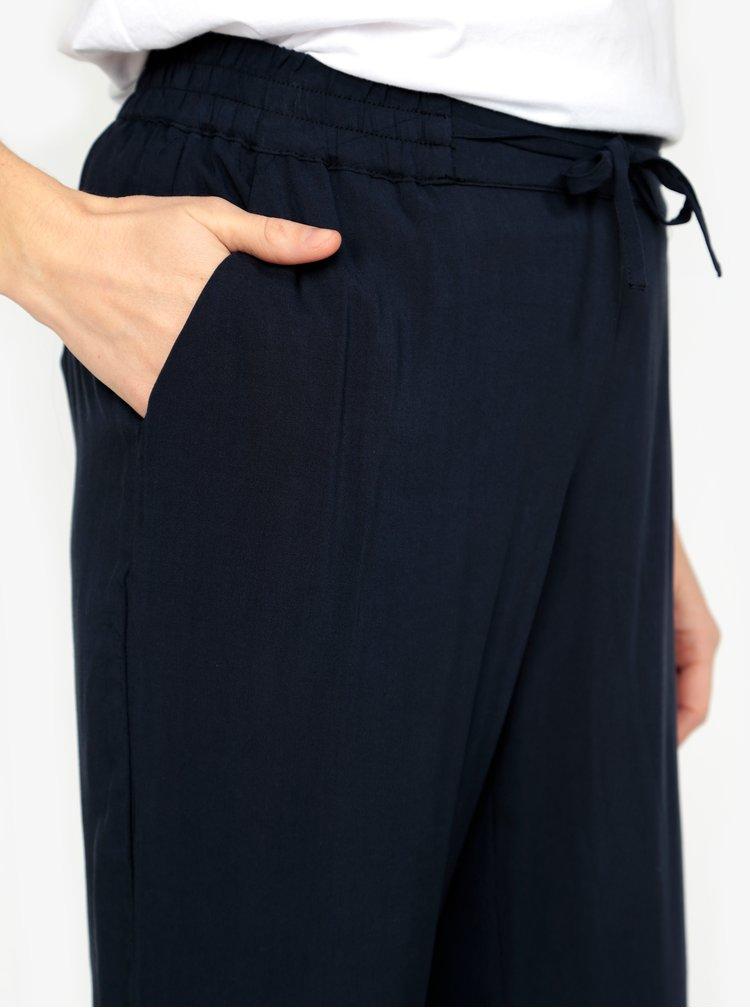 Tmavě modré zkrácené kalhoty s vysokým pasem VERO MODA Simply