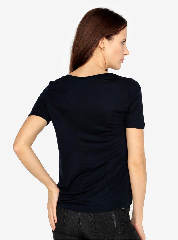 Tmavě modré tričko s potiskem VERO MODA Sola