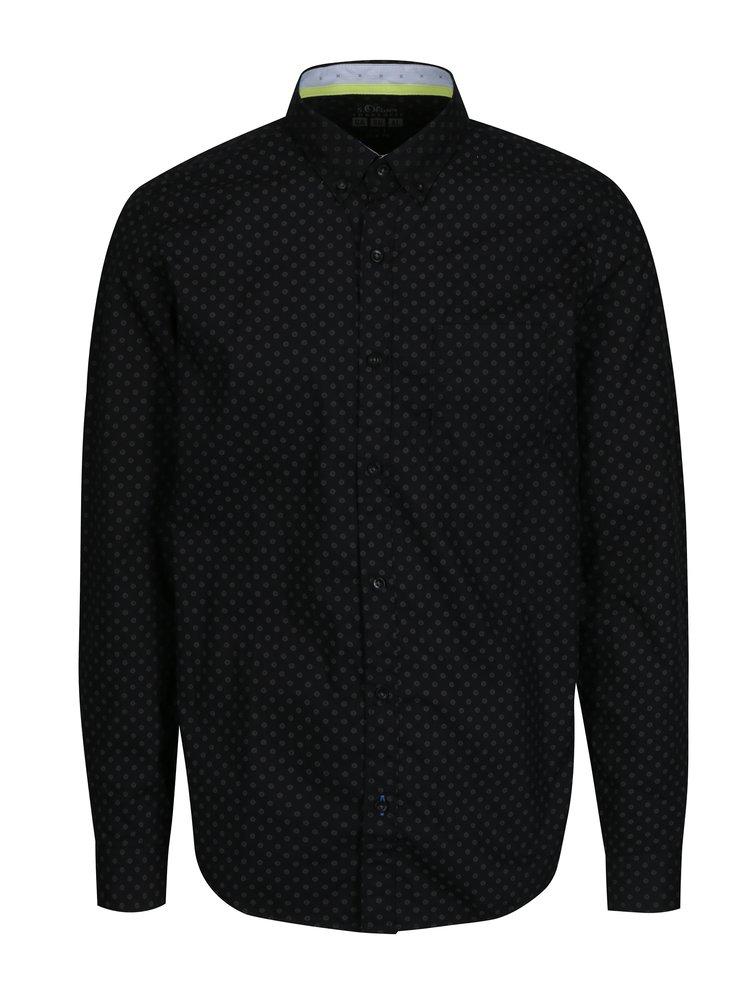 Černá vzorovaná pánská slim fit košile s.Oliver