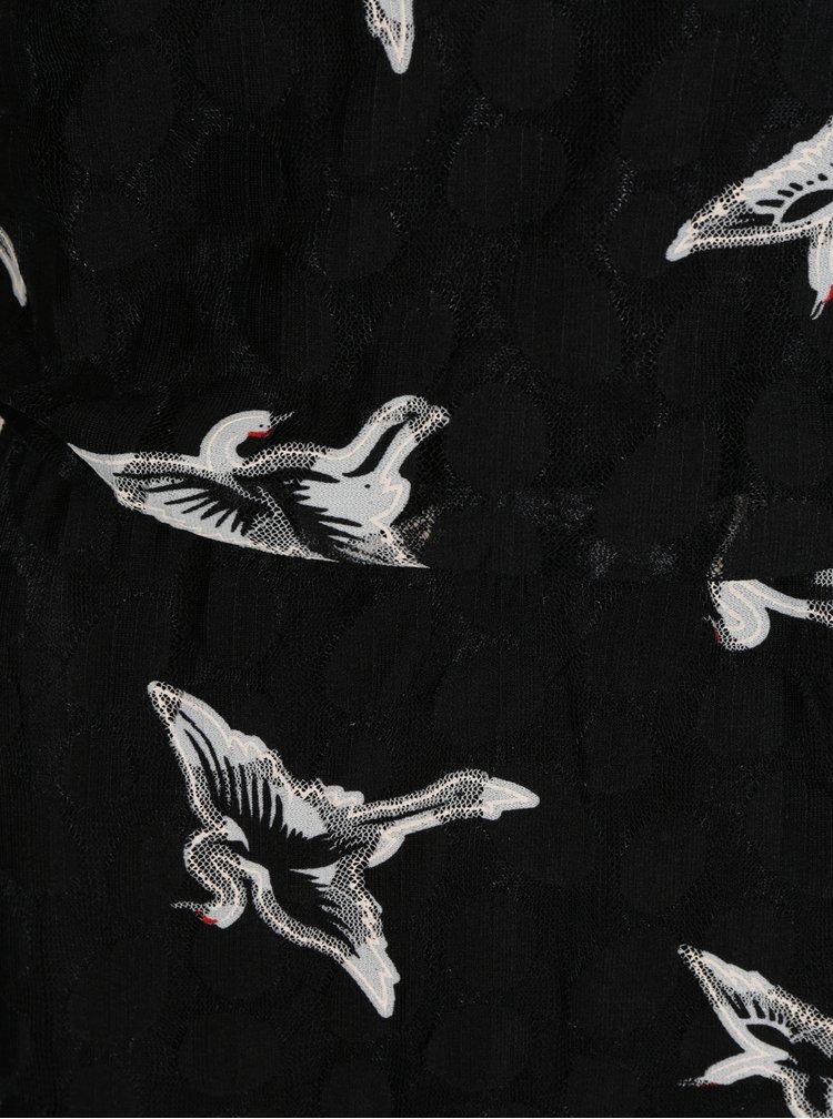 Černé dlouhé vzorované maxišaty Mela London