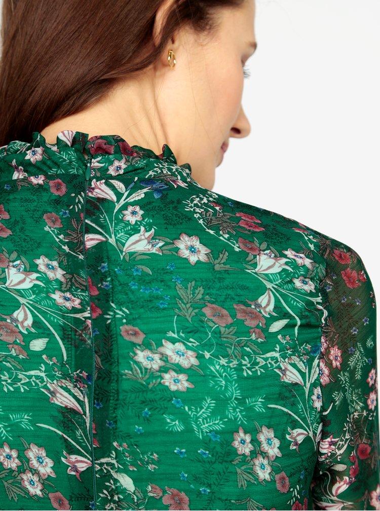 Zelené květované minišaty s dlouhým rukávem MISSGUIDED