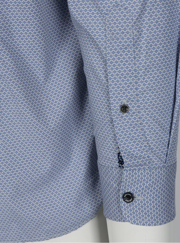 Modrá pánská vzorovaná slim fit košile s náprsní kapsou s.Oliver
