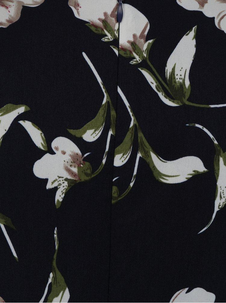Tmavě modré krátké květované šaty s překládaným výstřihem Mela London