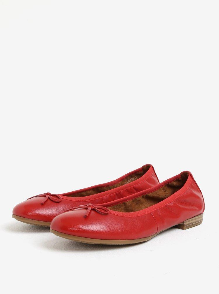 Červené kožené baleríny s mašličkou Tamaris