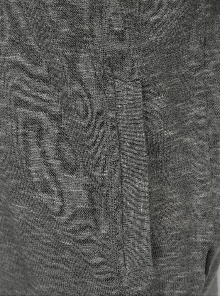 Šedý pánský žíhaný kardigan s kapsami s.Oliver