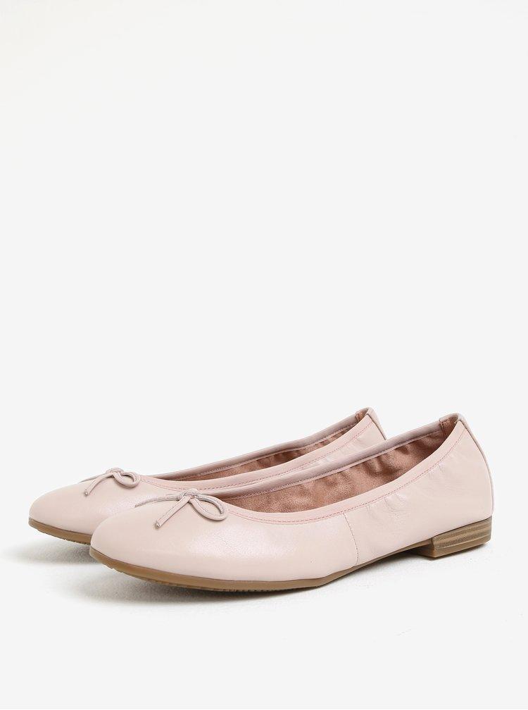 Světle růžové kožené baleríny s mašličkou Tamaris